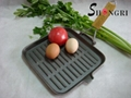 Wooden Folding Handle Cast Iron Square Frying Pans Cookware