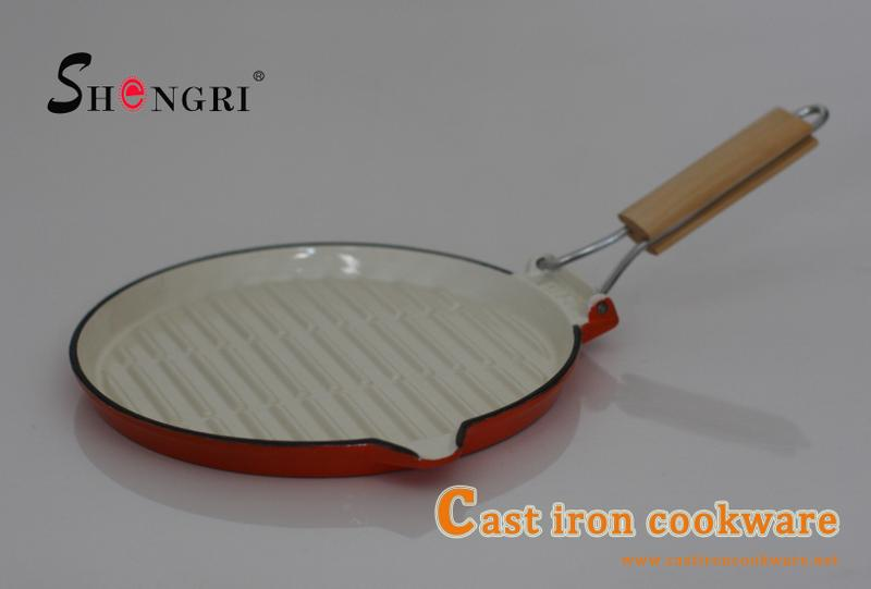 Round Shape Grill Pan with Foldable Handle Cast Iron Fry Pan Cookware 5