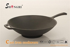 Cast Iron Cookware Pre-Seasoned Coating Wok With Handle