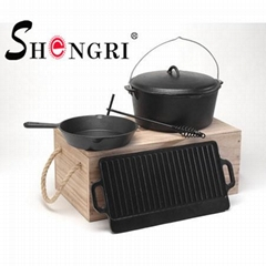 Cast Iron BBQ Cookware Sets Pre-seasoned Coating 6-piece set Outdoor Cooking