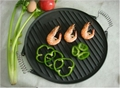 SR080 Cast Iron BBQ Cookware Round Grill Plate Outdoor Cooking