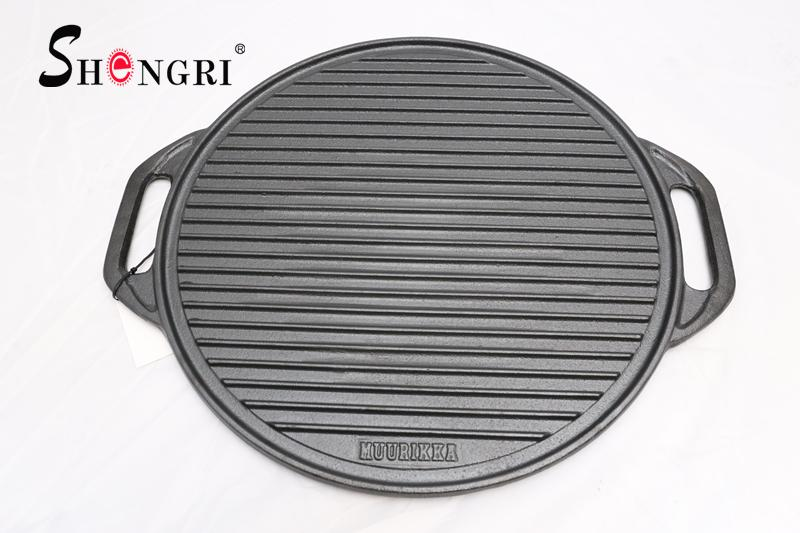 SR080 Cast Iron BBQ Cookware Round Grill Plate Outdoor Cooking 9