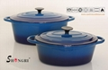 Shengri High Quality Cast Iron Emamel Cookware Set Casseroles Pot And Fry Pan