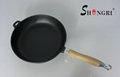 Cast Iron Frying Pans With Wooden Handle Skillet Pan