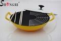 Enameled cast iron wok