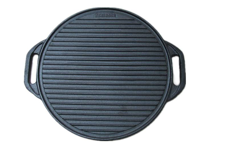Cast iron grill pan with two handles