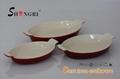 Utensilios de cocina forma oval de hierro fundido esmaltado