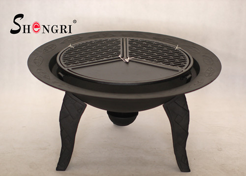 cast iron fire bowl with bbq grill   1