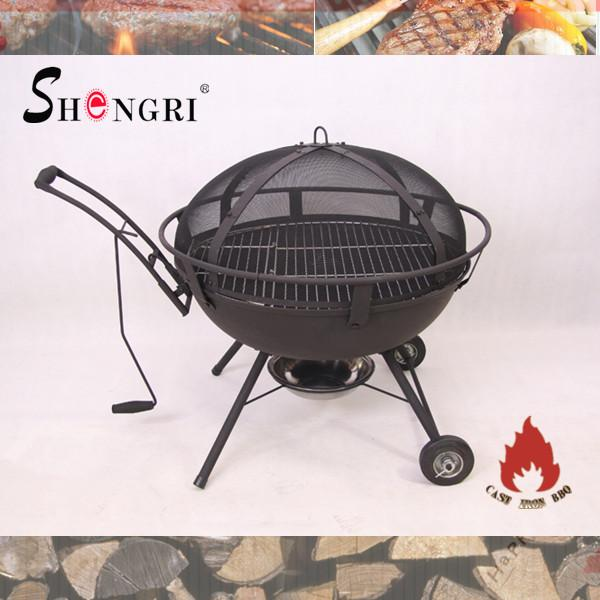 cast iron fire bowl with bbq grill   3
