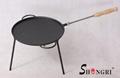 Iron Round Fry Pan With Three Legs Pre-seasoned Coating