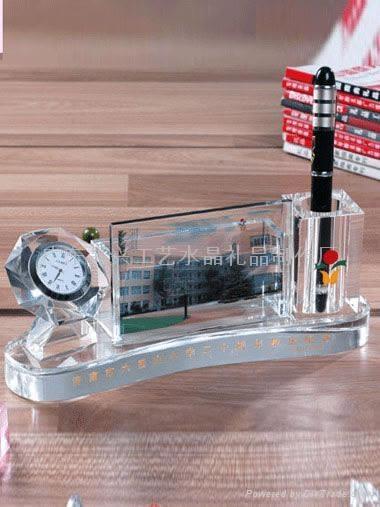 水晶三件套|高档办公桌摆件|学校周年纪念品