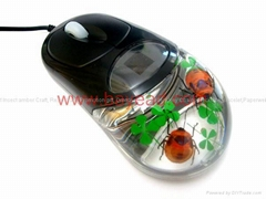 Real Insect Amber USB 3D Optical Computer Mouse For promotion gift souvenir gift
