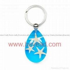 Novel real starfish amber keychains