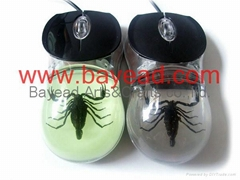 Real Scorpion Amber USB 3D Optical Computer Mouse Insect  Amber