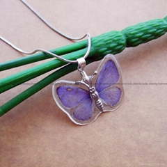 Real Butterfly in Resin Necklace Jewelry
