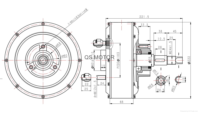 3000w 205 single shaft car hub motor - qs hub motor - qs motor  china manufacturer