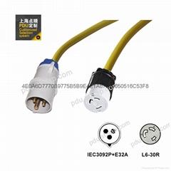 彩色IEC60309 32A Nema L6-30R 30A 服务器 路由器 PDU电源线