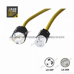 彩色Nema L6-30P-L6-30R 锁扣服务器 ups  PDU延长电源线