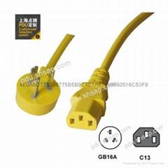 黄色GB16A-C13PDU彩色电源线