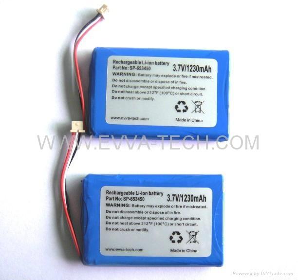 Lithium ion 653450 Battery Pack 3.7V 1230mAh - 653450-1S1P ...