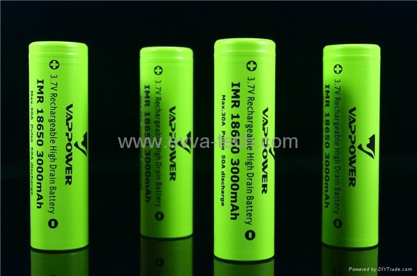 Vappower IMR18650 3000mAh 30A The newest high power 18650 li-ion battery
