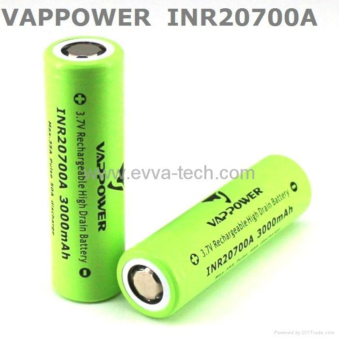 35A high drain Vappower INR20700A 3000mAh  20700 high power Battery