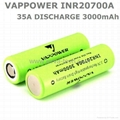 20700 Vappower 35A discharge INR20700A 3000mAh high power Batteries