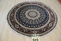 Free shipping round hand knotted pure silk carpet