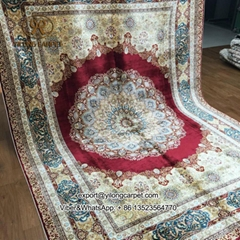 220x310cm Red persian design hand knotted turkish silk carpet high quality