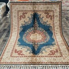 5.6x8.3ft Blue handknotted turkish silk rug medallion floor carpet