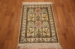 Turkey handmade small size 2x3 silk carpet rug Persian design