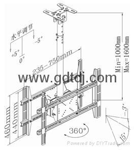 雙屏電視懸挂架 LED電視弔架 天花板電視挂架LP6804 3