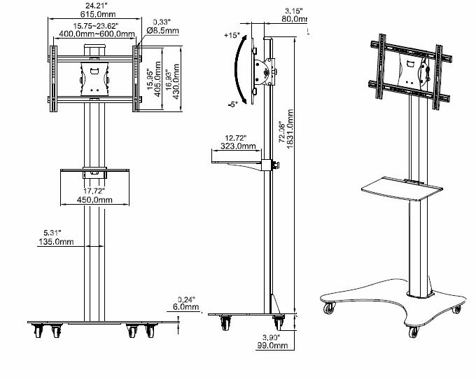 移動電視架 LED電視移動架 落地式電視挂架ZMS-181 2