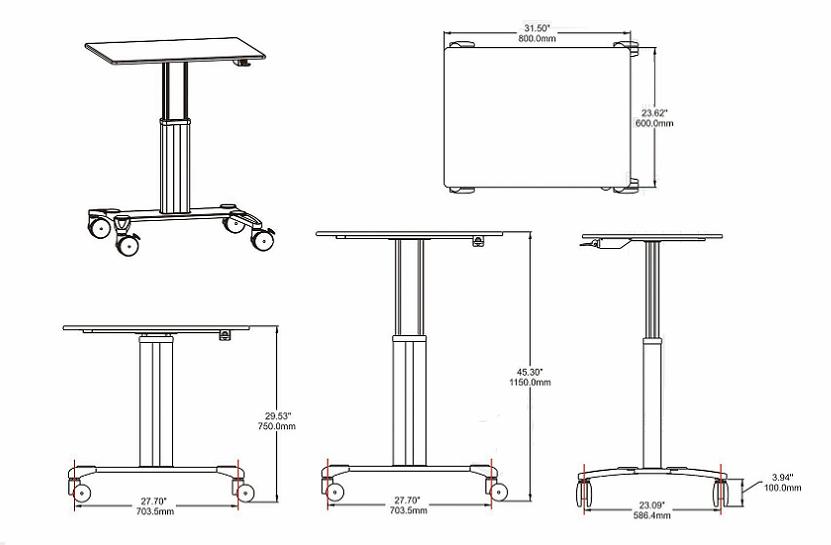 氣壓昇降辦公桌 移動辦公桌 移動工作台  筆記本辦公桌 7