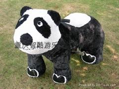 熊貓毛絨電動馬