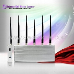 5 Antenna Cell Phone Jammer with Remote Control Blocking All Singals within 50M