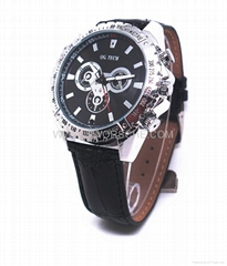 Leather Band Watch Camera with HD  Resolution