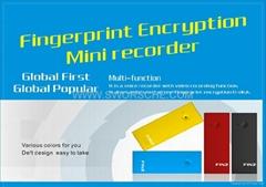 Fingerprint Encryption Mini Recorder Built in 8GB Flash Memory World's First One