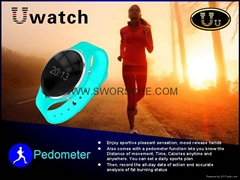 Handsfree Uu Smartwatch Sync Call SMS Anti lost Pedometer for iPhone Samsung HTC