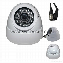 24 LED IR Color CMOS Loop Recording CCTV Security BNC/AV Dome Camera TV Out