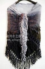 吊染段染圍巾