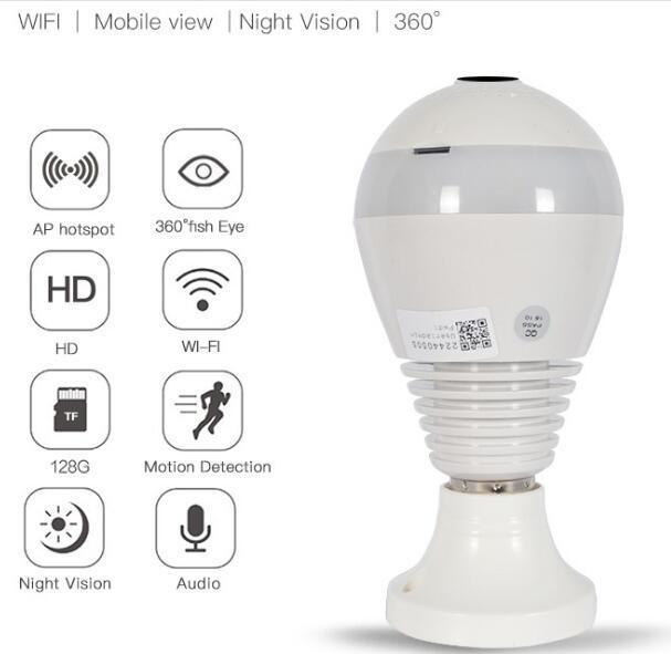 WIFI connection panoramic camera P2P hidden bulb IP camera surveillance HD 1080P 1