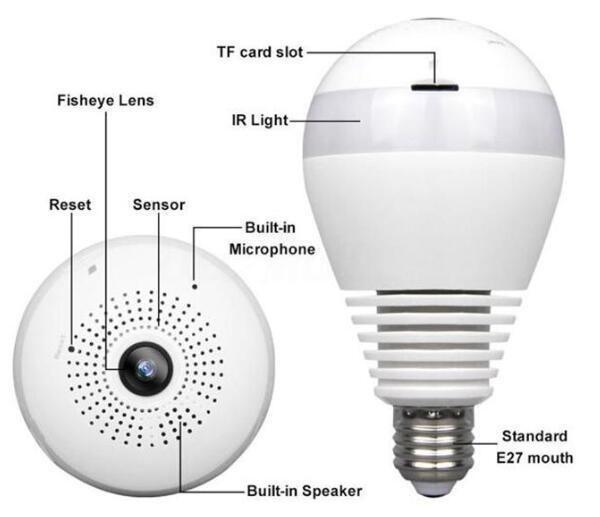 WIFI connection panoramic camera P2P hidden bulb IP camera surveillance HD 1080P 2