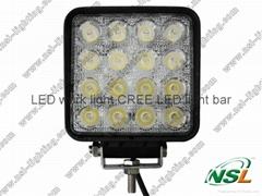 EMC Square USA CREE 48W LED Work Light Square Spot/Flood Beam 4x4 Off-road ATV,