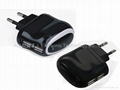 Dual USB Travel Charger, 5V1A output, in