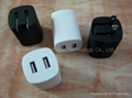 Dual USB travel charger, wall charger