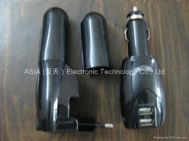 多功能二合一车用家用双USB充电器 2