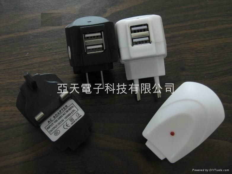 Dual USB AC charger,  dual USB travel charger 5