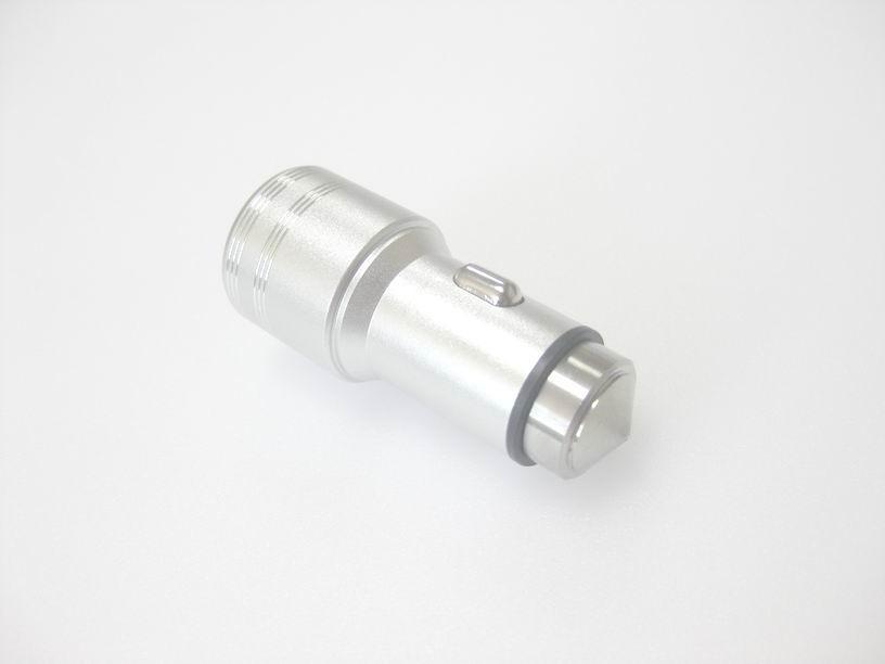 破窗錘車載USB車充金屬外殼、2.4a快速充電雙usb口車充、CE/FCC認証車充 4