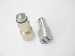 Broken window hammer usb car charger metal shell、2.4A car charger、CE/FCC